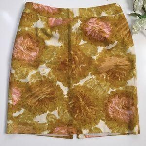 Talbots Golden Floral Tapestry Skirt